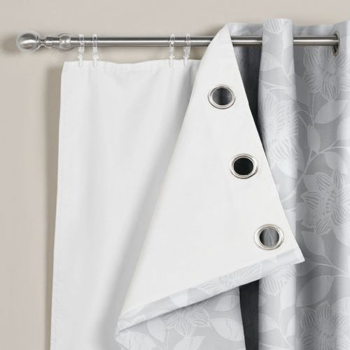"46"" x 54"" Pair Of 3 Pass Thermal Blackout White Curtain Linings For Eyelet Ringtop"